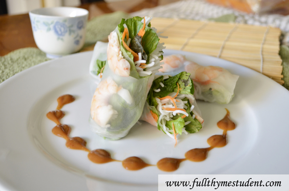 How to Make Vietnamese Shrimp Spring Rolls in under 20 minutes - Full-thyme Student | Recipes for students on a budget