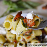Mezzi Rigatoni with Sun-dried Tomatoes and Ricotta Cheese in ~20 minutes