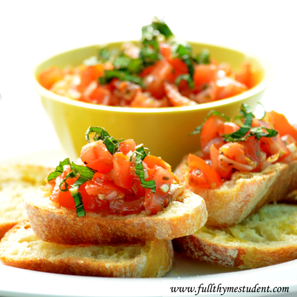 Easy Bruschetta Recipe Full Thyme Student Recipes For Students On A Budget