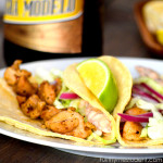 Quick Chicken Tacos with Cabbage Slaw and Chipotle Cream